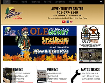 Adventure RV Sales website