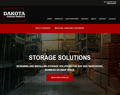 Dakota Storage Products website redesign screenshot