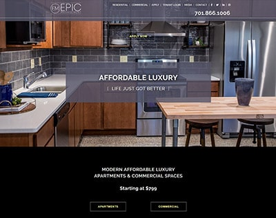 EPIC Management website design - property management