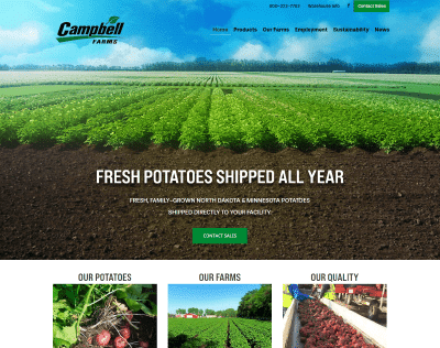 Campbell Farms - web design portfolio example