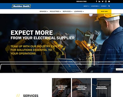 Buckles-Smith - web design portfolio example for industrial and electrical supply company