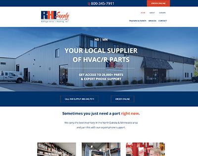 Web design screenshot of RHI Supply a HVAC supply store warehouse